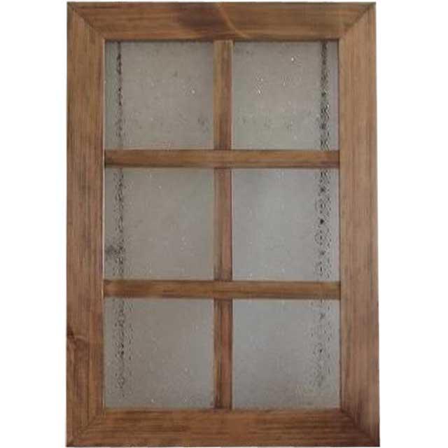 アンティークブラウン フローラガラスのガラスフレーム 桟入りガラス窓(35×50cm) 北欧 受注製作