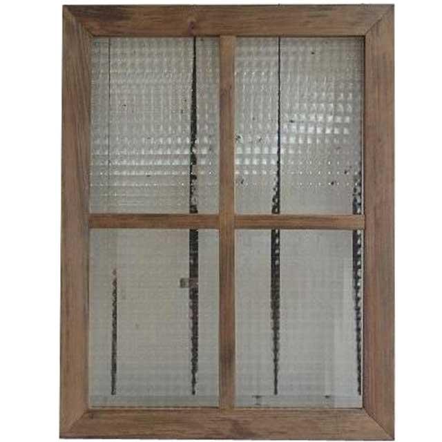 フランス製チェッカーガラス ガラスフレーム 桟入り ガラス窓 アンティークブラウン (45×60cm) 北欧 受注製作