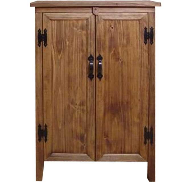 アンティークブラウン ひのきの扉の木製キャビネット 脚付き チェスト オーダーメイド