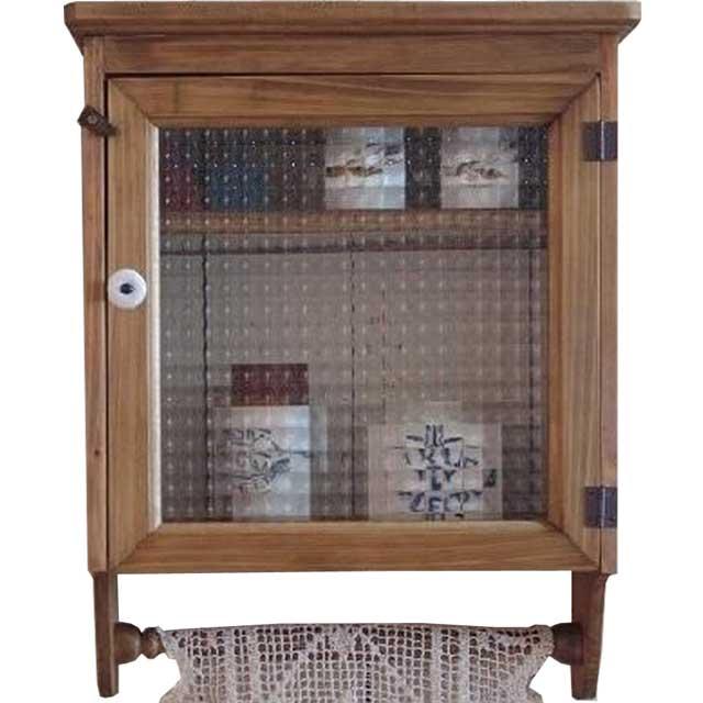 キャビネット 壁掛け w37d14h47cm アンティークブラウン ハンガーつき チェッカーガラス扉 片開き扉 二段棚 オーダーメイド