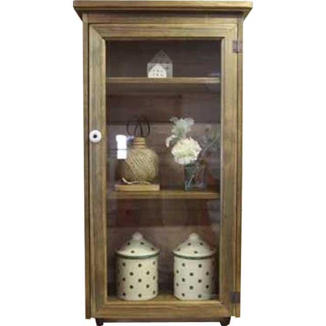 キャビネット 片開き扉 w38d23h78cm アンティークブラウン 透明ガラス扉 壁掛け 3段 木製 ひのき オーダーメイド