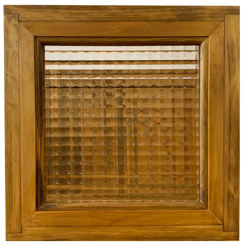 フィックス窓 チェッカーガラス アンティークブラウン 30×10×30cm 木製 ひのき ハンドメイド 受注製作