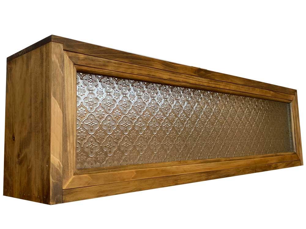 横型キャビネット フローラガラス w90d17h25cm アンティークブラウン 木製 ひのき ハンドメイド 受注製作