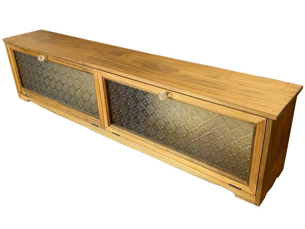 キャビネット 横型 フローラガラス ダブル扉 中仕切り アンティークブラウン w110d18h26cm パンプキンノブ 木製 ひのき オーダーメイド