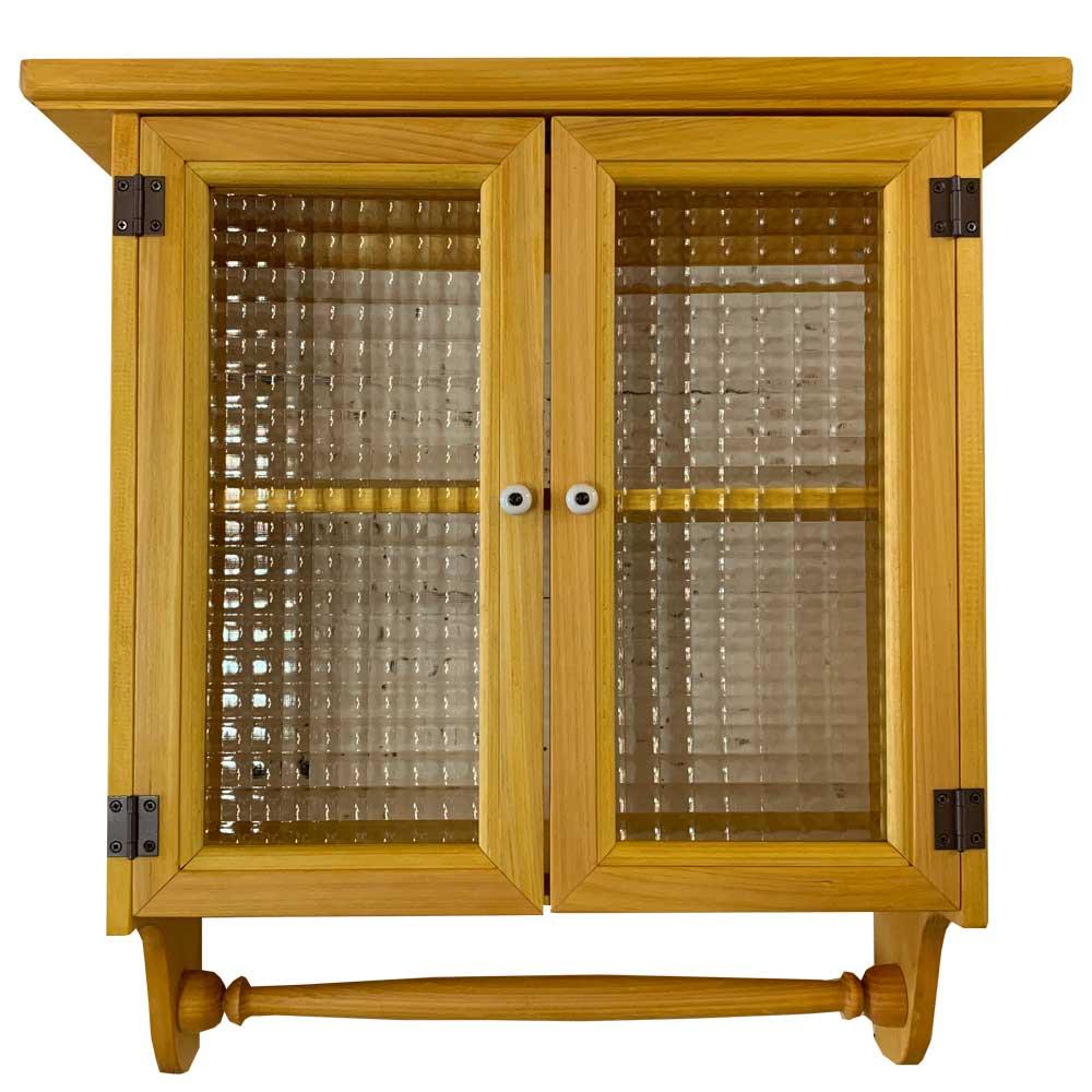 キャビネットシェルフ ナチュラル チェッカーガラス タオルハンガー付 木製 ひのき ハンドメイド オーダーメイド