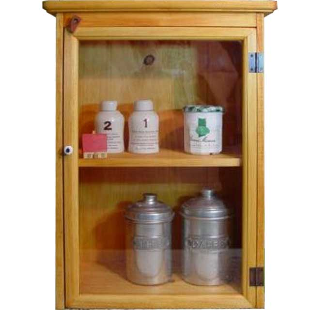 ナチュラル 透明ガラス扉のミニキャビネット 側面木製タイプ オーダーメイド