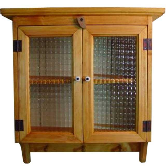 キャビネットシェルフ ペグ付き w45d14h47cm ナチュラル チェッカーガラス 木製 ひのき オーダーメイド