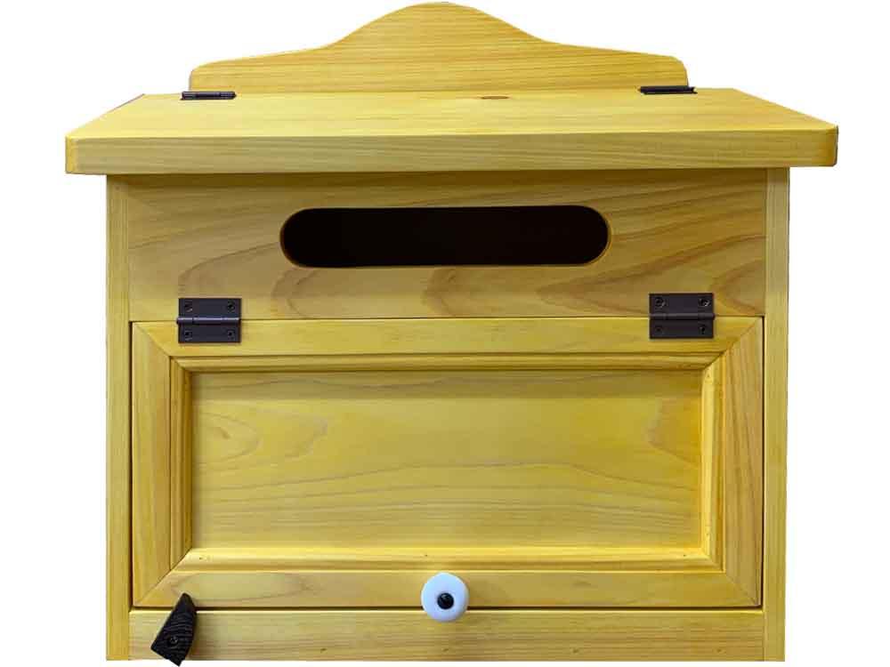 ポスト 横型 ナチュラル 37x20x36cm 奥行広め 木製 ひのき ハンドメイド オーダーメイド 1354963