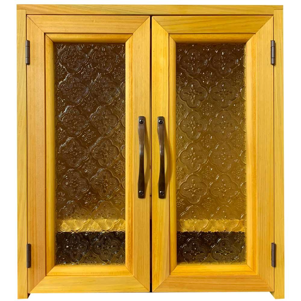 ペット仏壇 台座付き ナチュラル フローラガラス扉 ブロンズ取手 w30d22h33cm ハンドメイド 木製 ひのき 受注製作