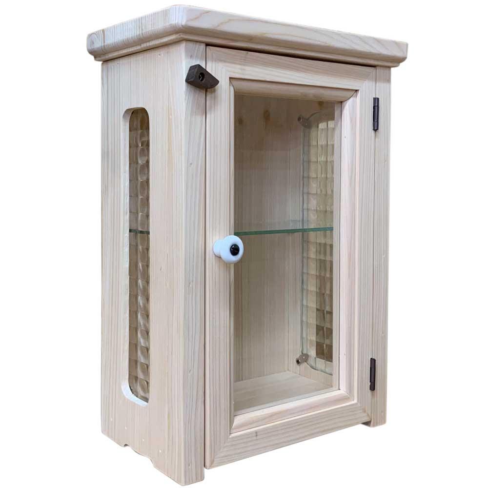 キャビネット 側面チェッカーガラス 無塗装白木 w23d13h32cm 透明ガラス扉のミニミニキャビネット 木製 ひのき ハンドメイド オーダーメイド