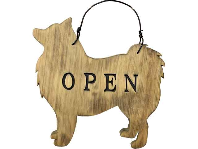 OPEN&CLOSEプレート スピッツ アンティークブラウン ひのき 木製 ハンドメイド オーダーメイド 1327933