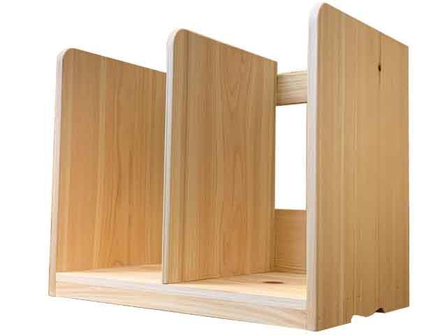 ブックスタンド 本棚 白木蜜蝋オイル仕上げ 40×25×34cm 木製 ひのき ハンドメイド オーダーメイド
