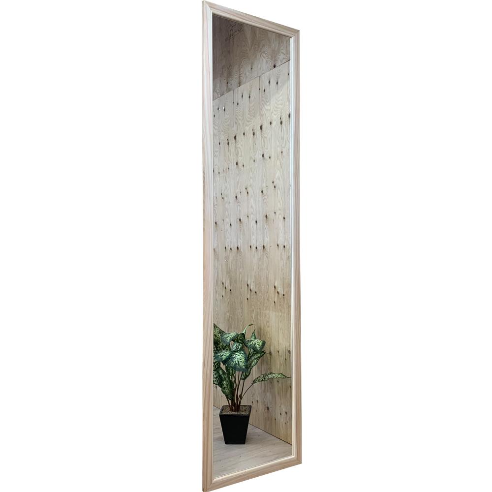 スリムミラー 姿見鏡 白木 蜜蝋オイル仕上げ 45×2×180cm 木製 ひのき ハンドメイド オーダーメイド