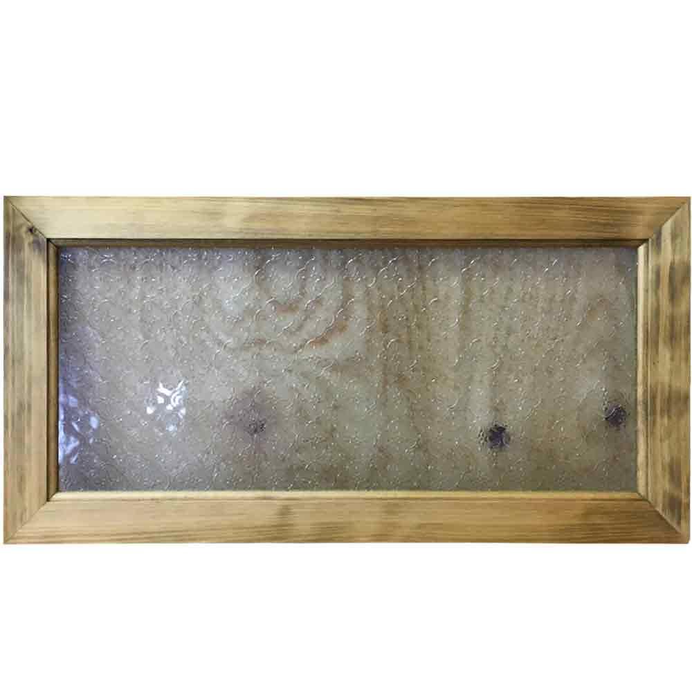 早め発送 1327933 ガラスフレーム ガラス窓 フローラガラス 片面仕様 アンティークブラウン 60×2×30cm 北欧 木製 ひのき ハンドメイド