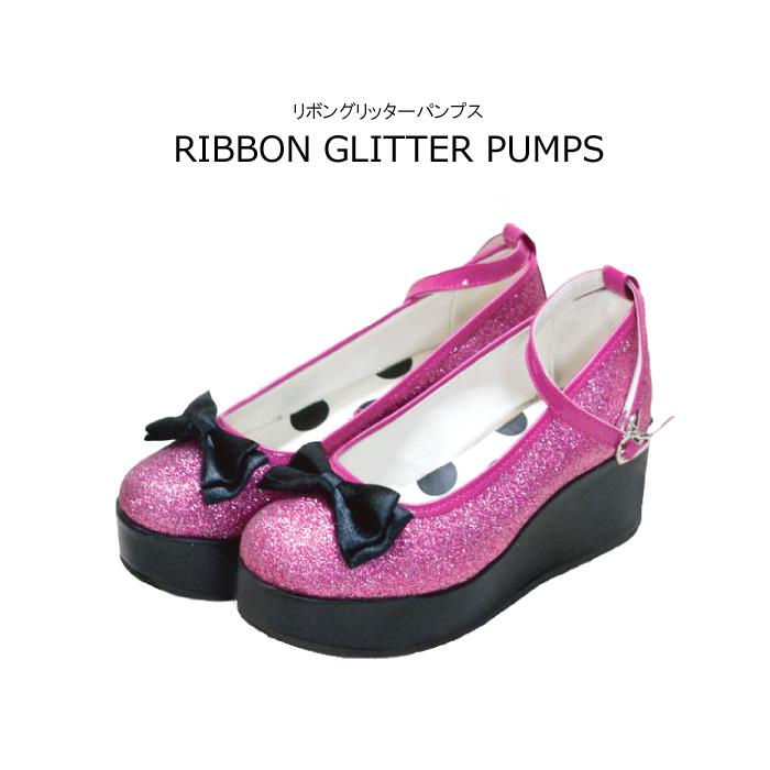 6fe60ea6956 Ribon glitter pumps Angel dress shop s original pumps kids shoes Angel  dress shop it s pumps