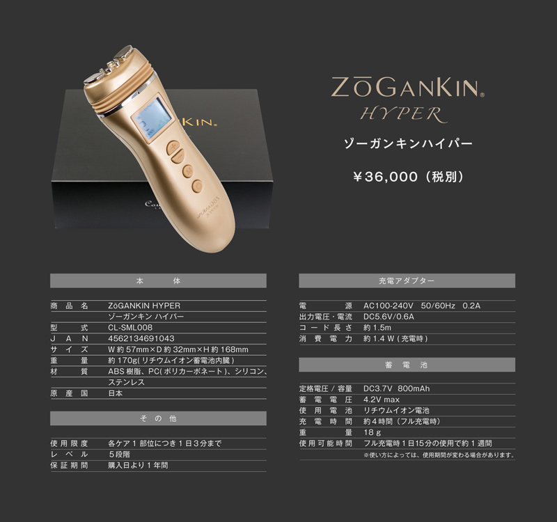 Zogankin hyper (zogankin hyper) than is being trained up to deep muscles! Of facial muscle facial equipment with radio waves + EMS