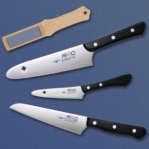 Mac knife sets ( santoku knife, small knife, and paring knife 3-piece set kitchen wheel as a present! )