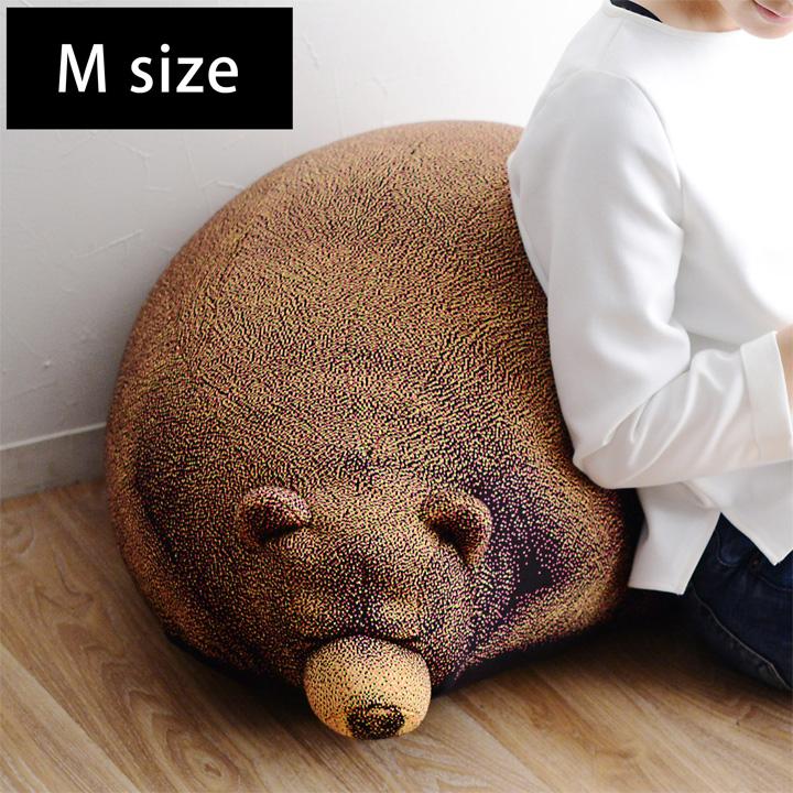 スリーピング グリズリーベア クッション M/Sleeping Grizzly Cub beanbag【送料無料】