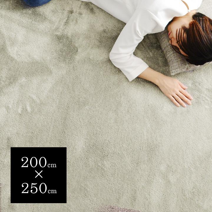 【日本製】 なめらかタッチ 機能性ラグ カーム/防ダニ/防炎/床暖対応OK 200×250cm【送料無料】