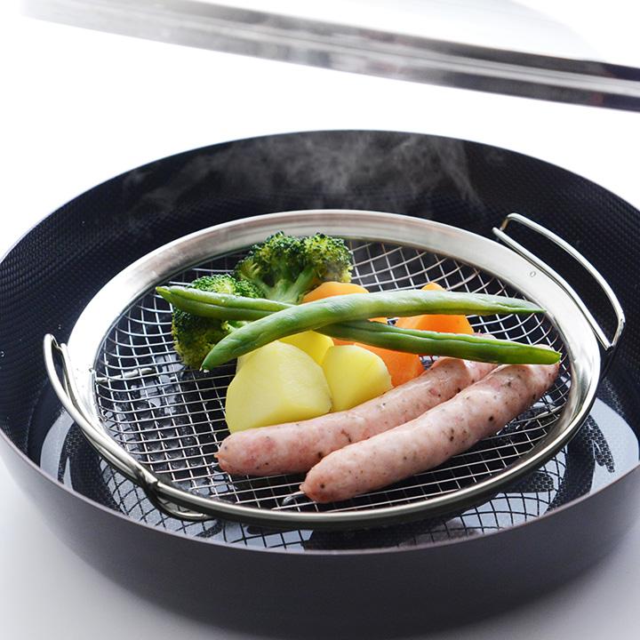 蒸し野菜 調理 訳あり商品 激安価格と即納で通信販売 ざる かご 網 ステンレス フライパンで蒸し料理ができる 家事問屋 蒸しかご