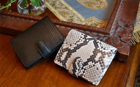 【送料無料】パイソン 財布 レディース 二つ折り アンジーザキャット