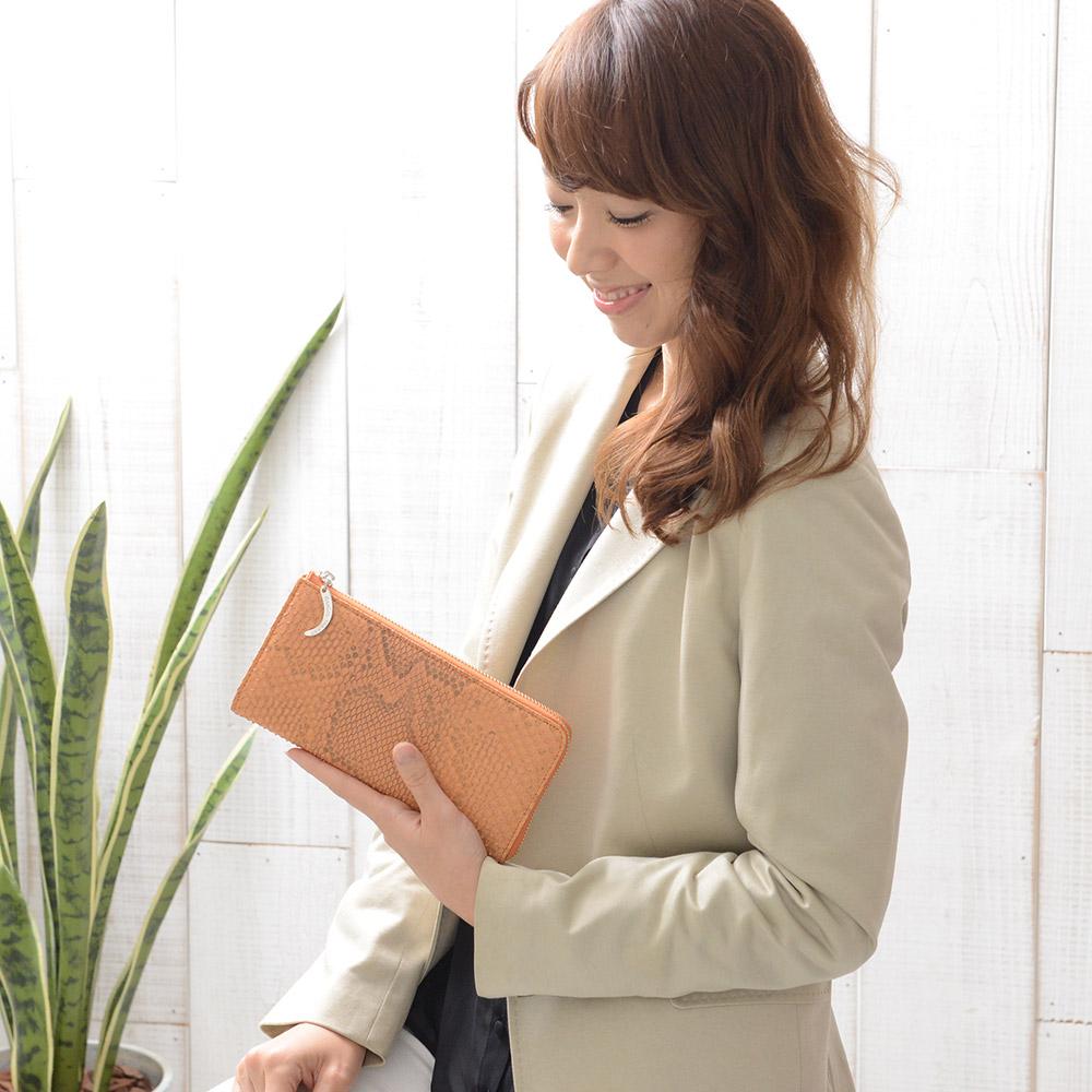【送料無料】パイソン L字型長財布 レディース 女性用 おしゃれ 高級品 新作 アンジーザキャット