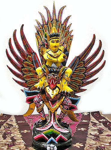 霊鳥ガルーダとWISNU神[H.45cm]黒黄緑 アジアン 雑貨 バリ 雑貨 タイ 雑貨 アジアン インテリア 送料無料