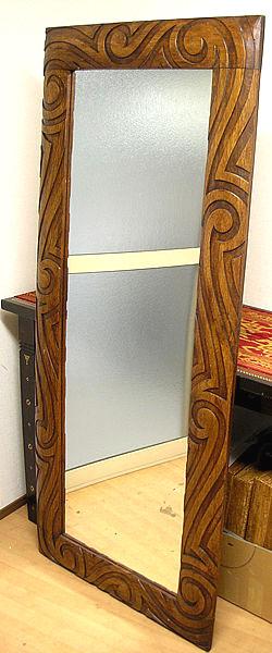 木彫りのミラー姿見 鏡 手彫り波模様バリスタイル[H.145cmx55cm] アジアン 雑貨 バリ 雑貨 タイ 雑貨 アジアン インテリア 送料無料