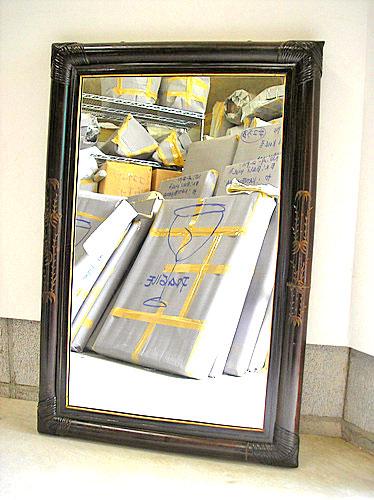 ブラックバンブーのミラー 鏡 壁掛け 鏡姿見カービング [91cmx61cm] アジアン 雑貨 バリ 雑貨 タイ 雑貨 アジアン インテリア