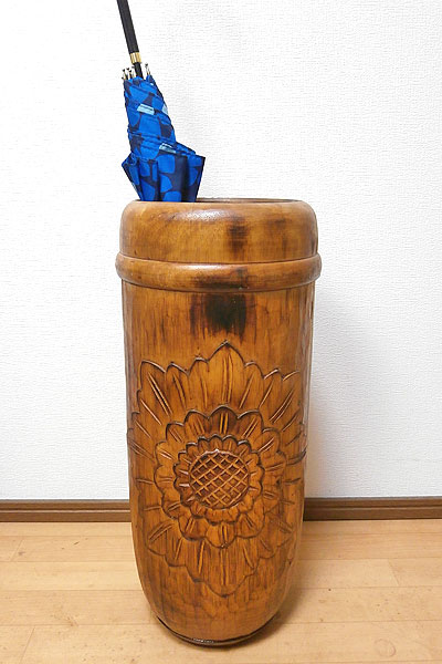 傘立て 傘たて スリム おしゃれ アンティーク 木製 ブラウン アート ウッド 花柄 アジアン バリ タイ 雑貨 エスニック 木彫り インテリア 送料無料