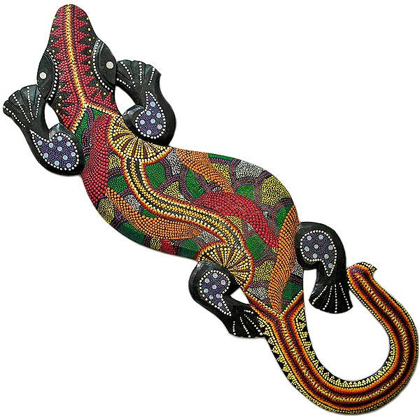 壁掛けトカゲ [約120cm] 太目 カラフル ドットペイント O アジアン 雑貨 バリ 雑貨 タイ 雑貨 アジアン インテリア