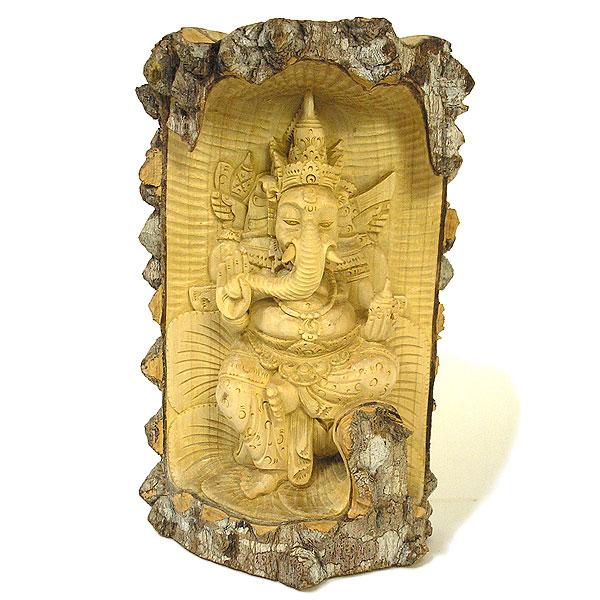 木彫りの『ガネーシャ』クロコダイルウッドA [H.32cm] アジアン 雑貨 バリ 雑貨 タイ 雑貨 アジアン インテリア 送料無料