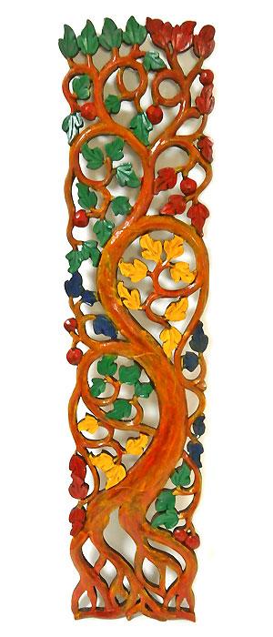 ロンボク 壁掛け 木彫りのレリーフ ミックス系 アンティーク調 カラー [H.100cm] アジアン バリ タイ 雑貨 アジアン インテリア 送料無料