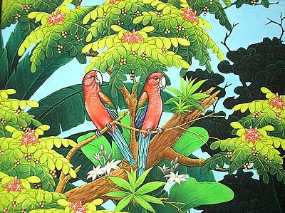 バリアート絵画L横『森の小鳥達赤インコ』 アジアン 雑貨 バリ 雑貨 タイ 雑貨 アジアン インテリア 送料無料
