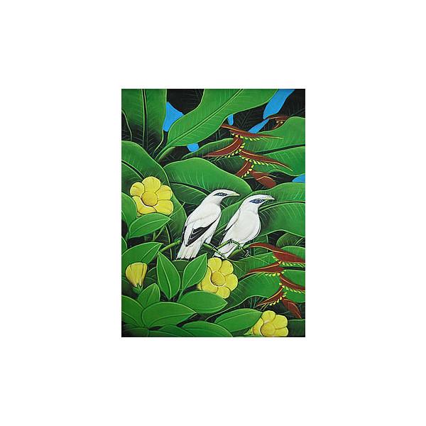 バリアート絵画 M 縦 森の小鳥達 白 黄花 アジアン 雑貨 バリ 雑貨 タイ 雑貨 アジアン インテリア 送料無料