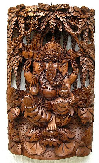 木彫りのレリーフ『森のガネーシャ』 [40cmx25cm] アジアン 雑貨 バリ 雑貨 タイ 雑貨 アジアン インテリア 送料無料