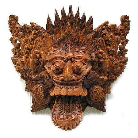 【壁掛け】木彫りの『ランダ』[横19cmx縦17cm] アジアン 雑貨 バリ 雑貨 タイ 雑貨 アジアン インテリア