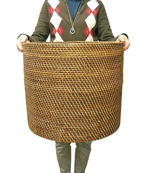 ラタンの持ち手付きバスケット円筒型 Lサイズ[W.40cm]【収納 ボックス】 アジアン 雑貨 バリ 雑貨 タイ 雑貨 アジアン インテリア