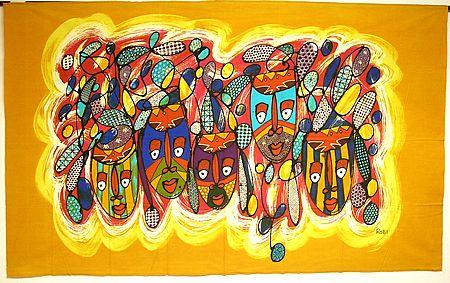 現代アートバティック横L『マスク5連』 アジアン 雑貨 バリ 雑貨 タイ 雑貨 アジアン インテリア【ゆうパケット対応】
