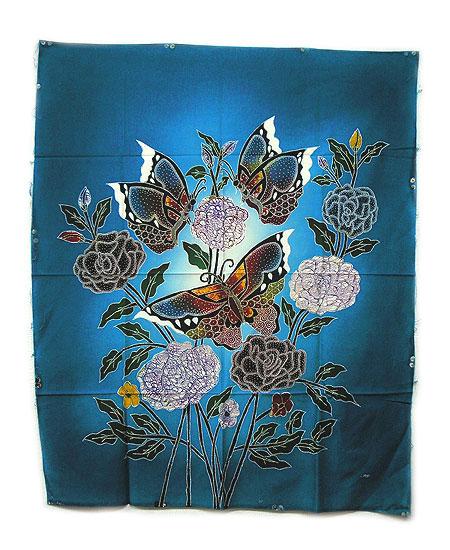 現代アートバティック縦M『花と3羽の蝶々』青 [74x92cm] アジアン 雑貨 バリ 雑貨 タイ 雑貨 アジアン インテリア 【ゆうパケット対応】