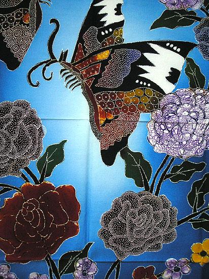 現代アートバティック縦M 花と2羽の蝶々 青75x92cmアジアン 雑貨 バリ 雑貨 タイ 雑貨 アジアン インテリアbyI6vYfg7
