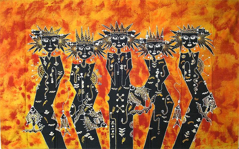 現代アートバティック横L『豊漁の女神』[144x88cm] アジアン 雑貨 バリ 雑貨 タイ 雑貨 アジアン インテリア【ゆうパケット対応】