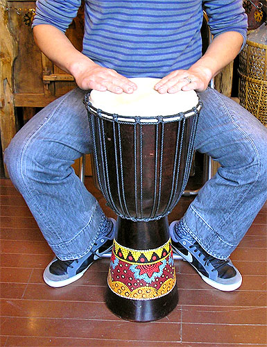 アジアの楽器ジャンベ[太鼓]H.60cmドットペイントブラウン アジアン 雑貨 バリ 雑貨 タイ 雑貨 アジアン インテリア 送料無料