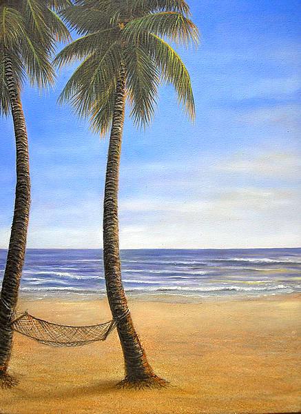 バリアート絵画特大縦M.Santoの『椰子の木とSeaside』G [額縦約99cmx横79cm] アジアン 雑貨 バリ 雑貨 タイ 雑貨 アジアン インテリア 送料無料