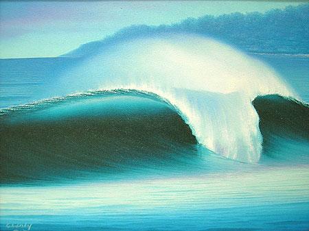 バリアート絵画M横Windy 『Big Wave』 アジアン 雑貨 バリ 雑貨 タイ 雑貨 アジアン インテリア 送料無料