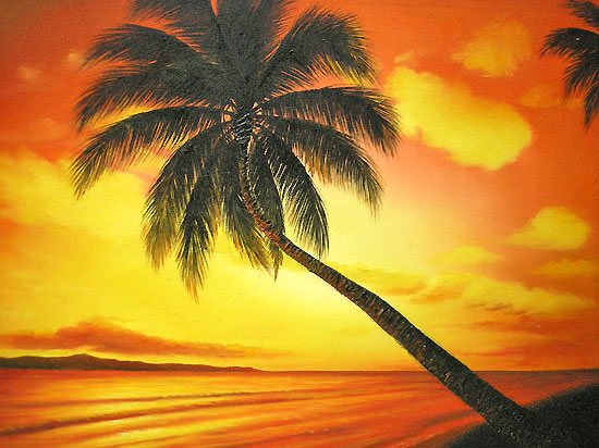Bali Art Painting L Next MSanto Palm Trees And Sunset Beach To The Amount Approximately 63 Cmx 53 Cm 10P01Mar15