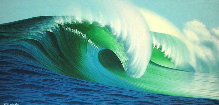 バリアート絵画LL横『Big Wave』WindySpecial Order作品[額横約94cmx縦54cm] アジアン 雑貨 バリ 雑貨 タイ 雑貨 アジアン インテリア 送料無料
