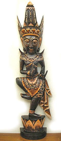 木彫りの像お面スタンドマスクケチャ1M[H.約103cm] アジアン 雑貨 バリ 雑貨 タイ 雑貨 アジアン インテリア