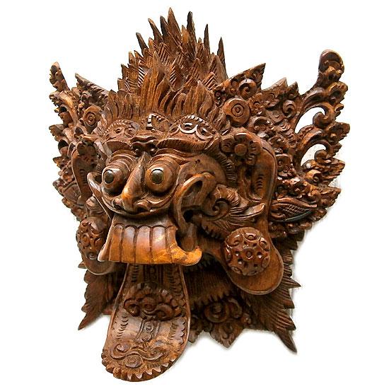 【壁掛け】木彫りの『ランダ』[横21cmx縦21cm] アジアン 雑貨 バリ 雑貨 タイ 雑貨 アジアン インテリア
