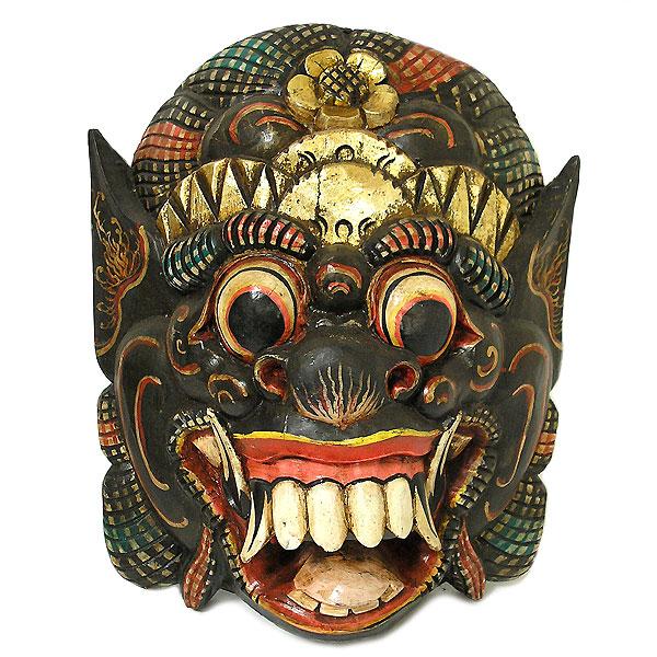 木彫りのお面マスク『バロン』壁掛け 特大 Bタイプ[縦約40cmx横34cm] アジアン 雑貨 バリ 雑貨 タイ 雑貨 アジアン インテリア